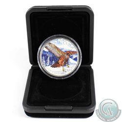 2015 Canada $5 Birds of Prey - Red-tailed Hawk Coloured Fine Silver Coin in Black RCM Display Box (c