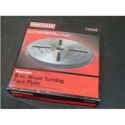"New Craftsman 8"" Wood Turning Face Plate, Wood Lathe, P/N: 9-22558"