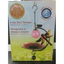 """Solar Bird Feeder 10.5 x 21"""" lights up at night"""