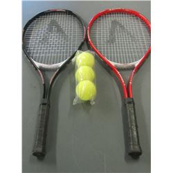 Set of 2 New Tennis Raquets and 3 Balls / with carry case