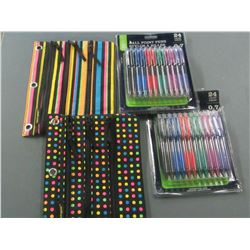 48 Ball point pens with 2 pen/pencil cases