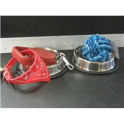 Pet Bundle / 2 stainless bowls / rope ball / retractible leash / bandana collar