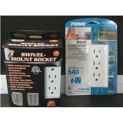 Swivel Mount 6 Socket and 6 outlet Surge Protector