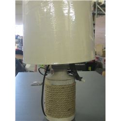 18 inch tall Rope table accent Lamp / shade needs nut on top