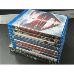 Lot of 10 DVD Movies / 8 are Blue Ray