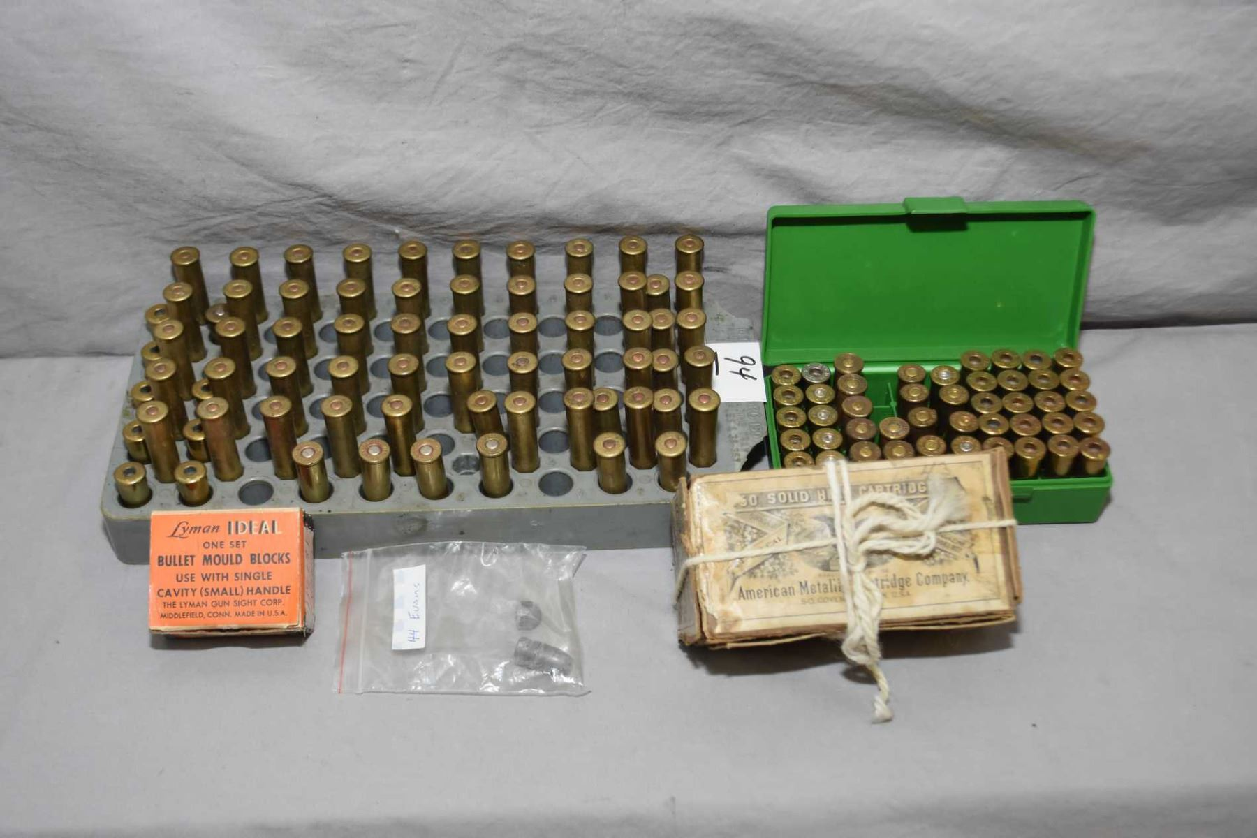 Tray Lot : Assorted  44 Evans Reloads ? & Brass - Empty