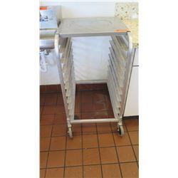"Rolling Aluminum Sheet Pan Rack w/Casters, 38"" H"