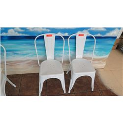 2 Retro Style White Chairs