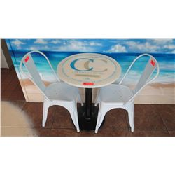 Round Table 2' Dia. w/Metal Base, 2 Retro Style White Chairs