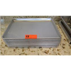 "Qty 10 Aluminum Half-Size Sheet Pans, 13"" X 18"" X 1"""