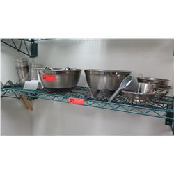 Stainless Steel Mixing Bowls, Tongs, Flatware Holders, etc.