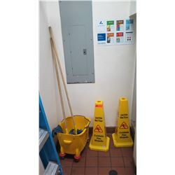 """Rolling Mop Bucket, 2 Mops, Yellow """"Wet Floor"""" Caution Cones"""