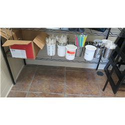 Misc. Stainless Steel & Plastic Flatware Holders, Sign Holders