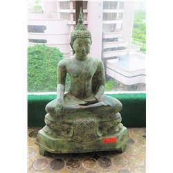 "Thai Bronze Seated Buddha, Sukhotai Style, 38"" H, Verde Gris Patina"
