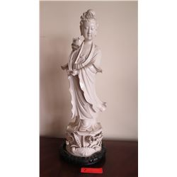 "Chinese White Porcelain Guanyin Figure w/Wood Stand 25"" H"