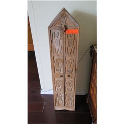 "Tall Steepled Carved Indonesian Wooden Cabinet, 40"" H, Carved Figural & Skull Motifs"