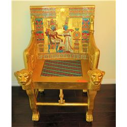 "Painted Gilt Wooden Egyptian Revival Chair, Reproduction, Inlaid Woven Seat, 25"" x 22"" x 41"""