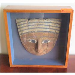 Authentic Wood Mummy Mask from Sarcophagus, Circa 5-3rd Century B.C.E, Ptolemaic Period, 14.5""