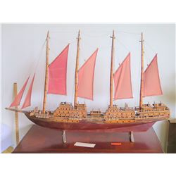 "Large Wooden Ship Model, Used as Movie Prop, 4-Masted Ship w/ Rigging, Approx. 58"" L, 38"" H, Aged Co"