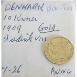 Denmark 1909 Gold Coin - 10 Kroner