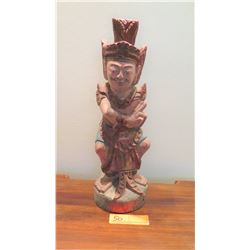 "Painted Carved Wooden Hindu Deity, Approx. 16"" H"