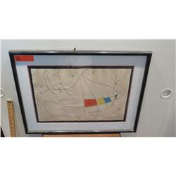 "Framed & Matted Joan Miro Glazed Color Print, 19.25"" x 13.25"" Paper, Hand-Signed HC on Lower Right"