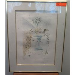"Framed & Matted Impression Color Print Attributed to Salvador Dali, 16"" x 9.75"" Artist Proof Signed"