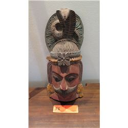 "Painted Carved Wooden Hindu Deity w/ Cobra, Approx. 16"" H (has wall-mount fitting)"