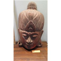 "Carved Wooden Deity Head, Approx. 20"" H, 12"" W, Concave/Wall-Mountable (some damage)"