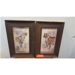 "2 Framed Leopard and Tiger Prints, 11.5"" x 18"""