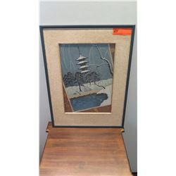 Framed Japanese Art, Japanese Temple in Winter (dislodged from frame)