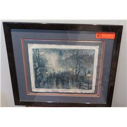 "Framed ""Conversation in the Rain"", Avi Thaw, Artist's Proof w/Original Signature, 1983, 21""X18"""
