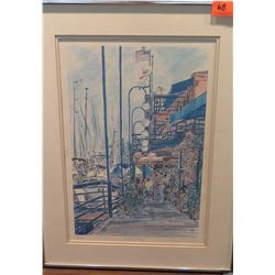 "Framed Lt. Ed. Print 50/250 ""Lido Village"" by Eleni Venetos, Original Signature 18"" x 24"""