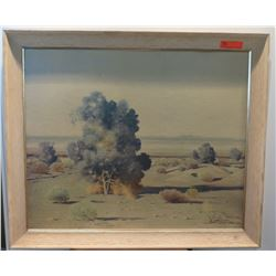 "Large Framed Original Painting, Desertscape, Signed, Artist Swinnerton, 32.5"" x 38.5"""