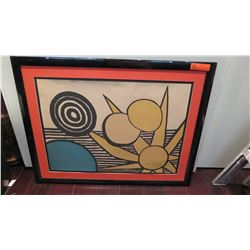 "Framed & Matted Alexander Calder Color Print, 20.5"" x 28"" Paper, Signed, Unidentified Sunburst Desig"