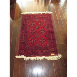 "Vermillion Afghan Wool Carpet, 6 Medallions w/Floral & Leaf Motifs, 42"" x 59"", Fringed Borders"