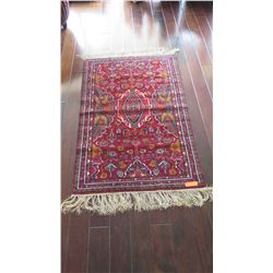 "Afghan Wool Carpet, Crimson w/Blue Accents, 38"" x 57.5"", Central Diamond-Shaped Medallion w/Floral &"