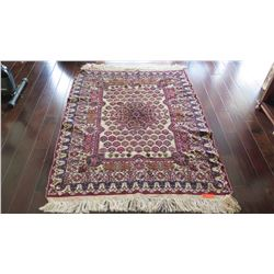 "Afghan Handwoven Carpet, Cream/Burgundy/Blue w/Central Medallion, 72"" x 45"", Fringed Borders"
