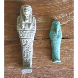 2 Egyptian Faience Ushabti (Funerary Figures)