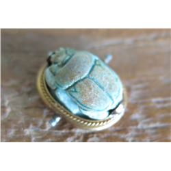 "Tiny Carved Scarab Beetle w/Gold Band and Underside Marking, 9/16"", w/Certificate of Authenticity"