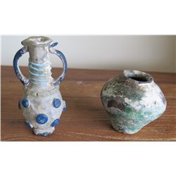 Roman Period Glass Perfume Bottle Ewer with Handles & Small Jar