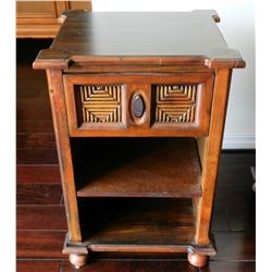 "Balinese Wooden Night Stand w/Carved Reeded Diamond Accents, Approx. 27"" H"