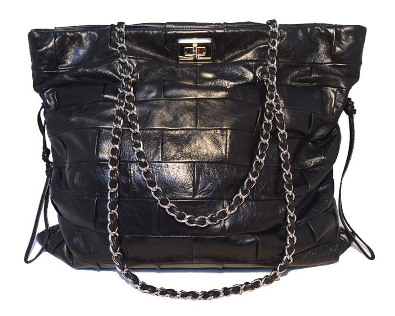 cb2e3a1122a4ee Image 1 : Chanel Black Leather Square Quilted Shoulder Bag Tote ...