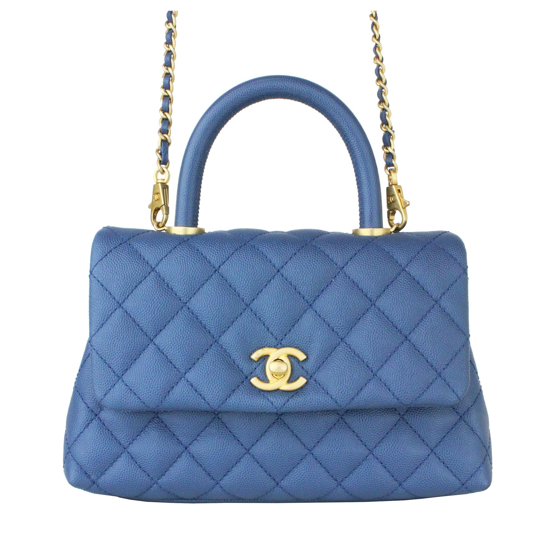 2b30df8a5d0d Image 1 : CHANEL Caviar Quilted Mini Coco Handle Flap Blue ...
