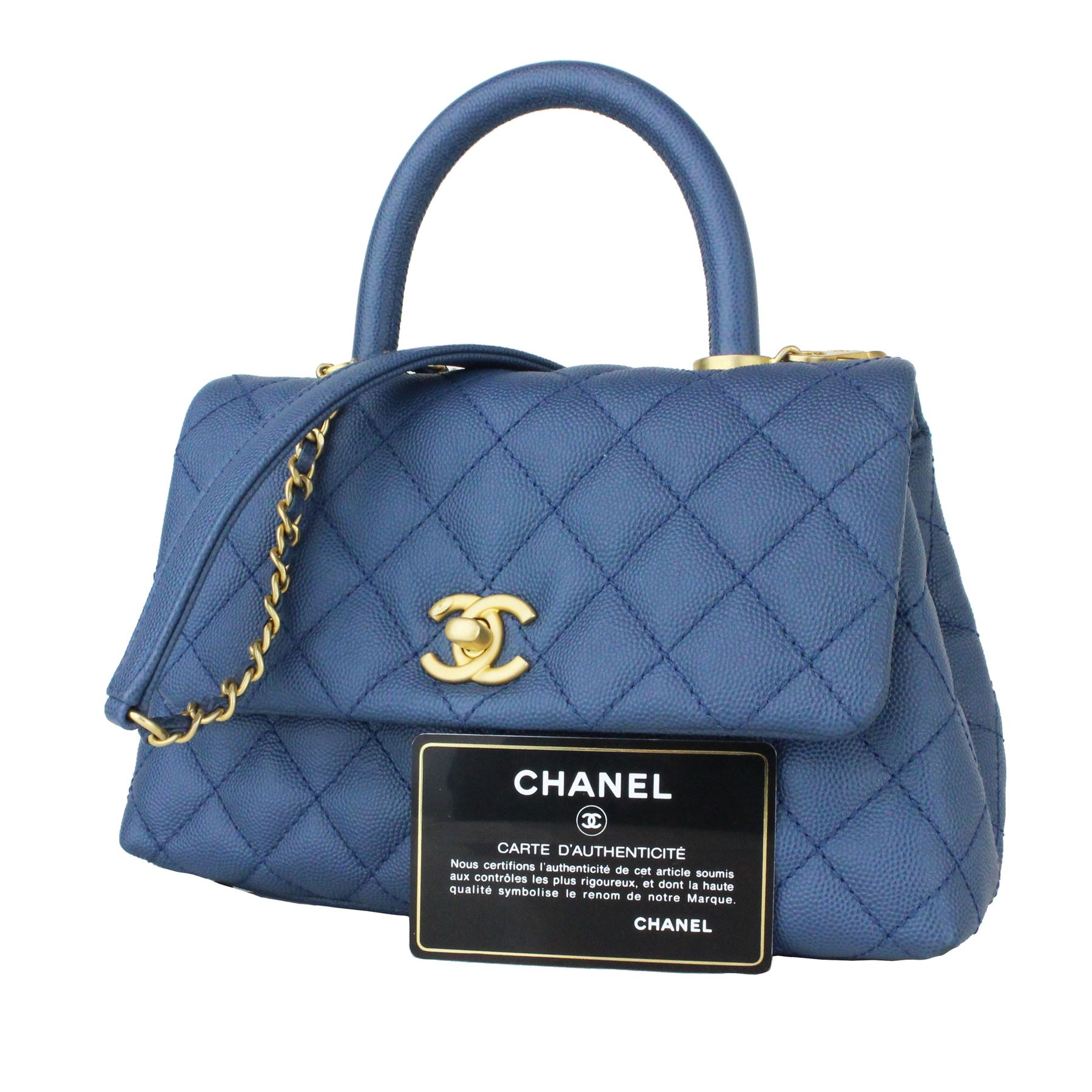 5434400387119c ... Image 8 : CHANEL Caviar Quilted Mini Coco Handle Flap Blue ...