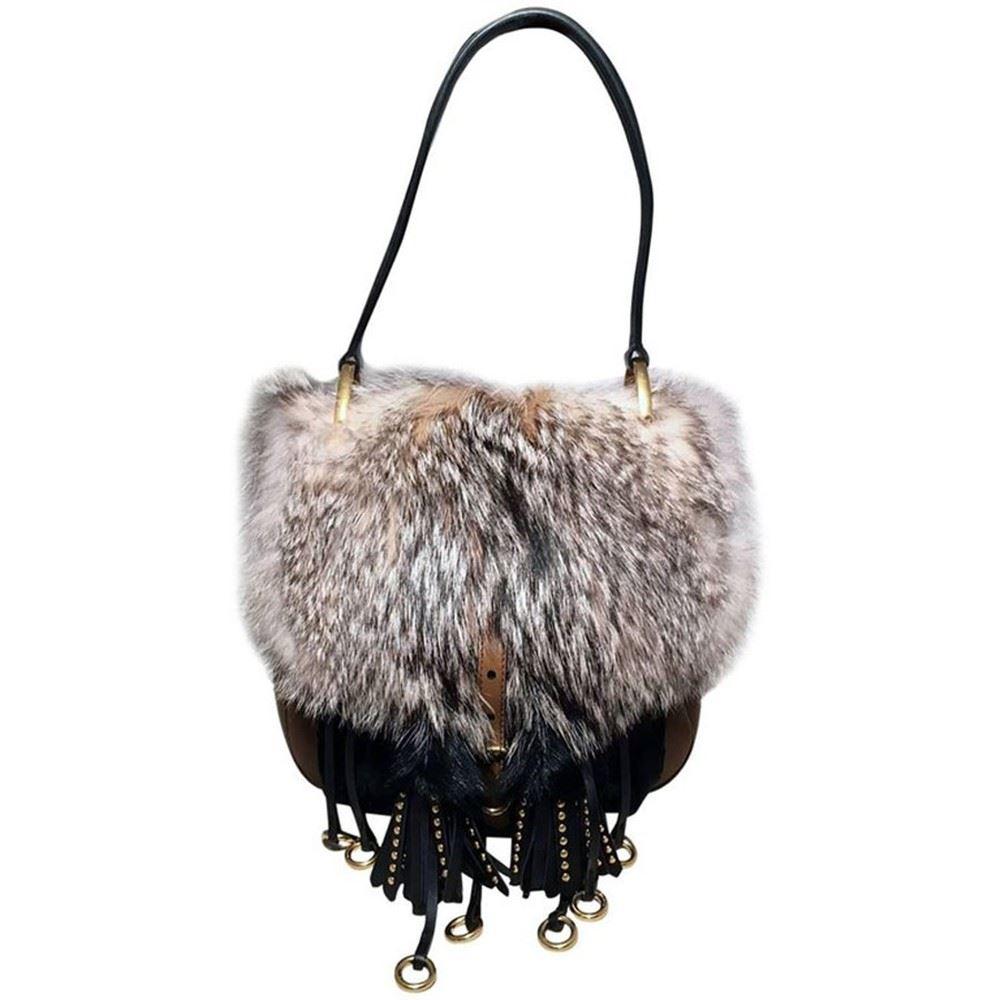 bff43581e2a1 Image 1   NWOT Prada Fox Fur and Tan Leather Shoulder Bag ...