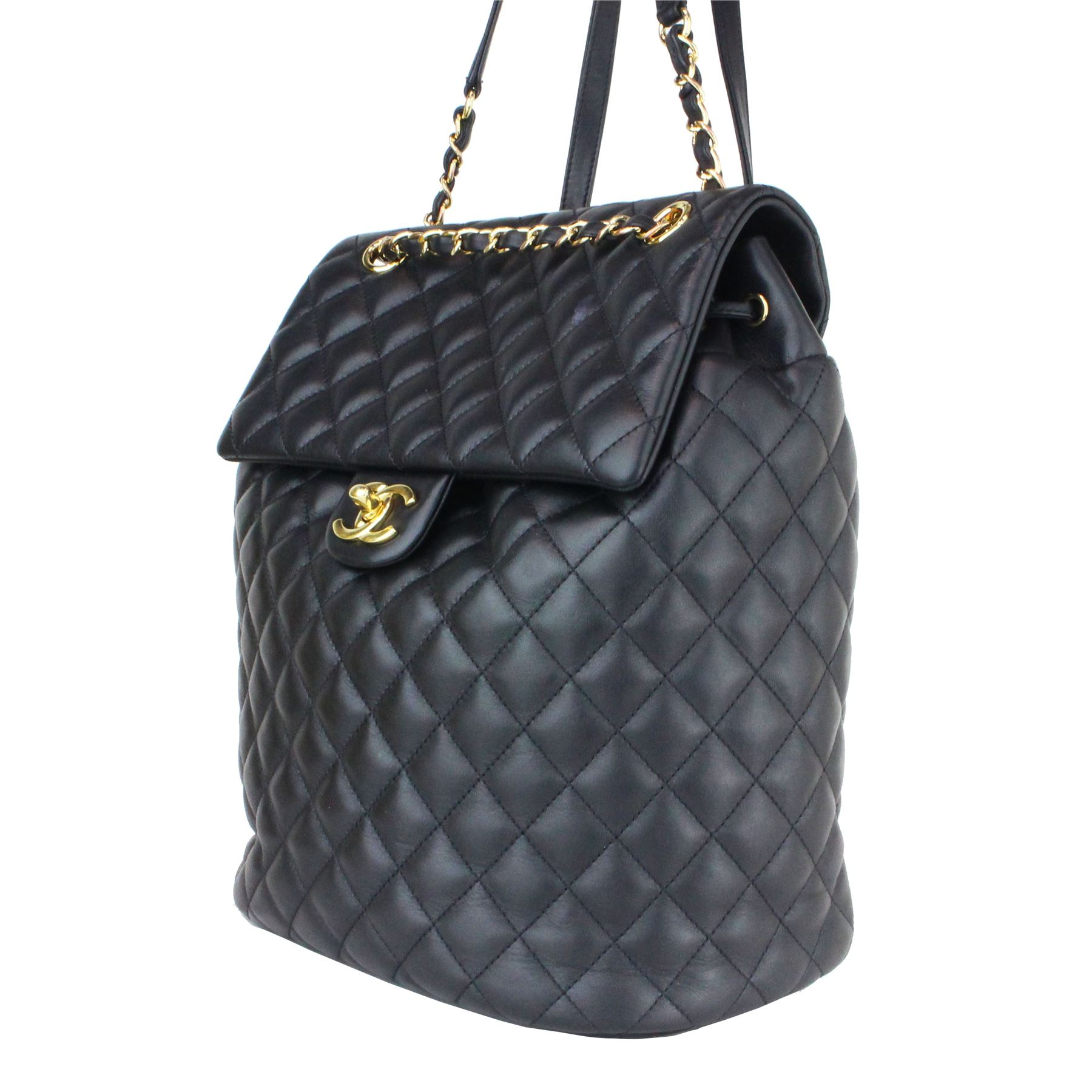fdcac4f91a56 Image 1 : CHANEL BACKPACK URBAN SPIRIT BLACK LAMBSKIN LEATHER BACKPACK ...