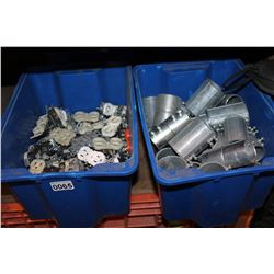 4 BLUE TOTES OF ELECTRICAL HARDWARE