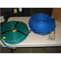 TWO SUMP PUMP HOSES AND TWO SOAKER HOSES