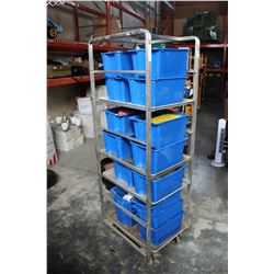 METAL ROLLING BAKERS RACK WITH SHELVES